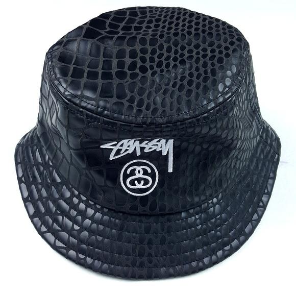 NEW STUSSY BLACK CROC FAUX LEATHER BUCKET HAT LARGE// EXTRA LARGE